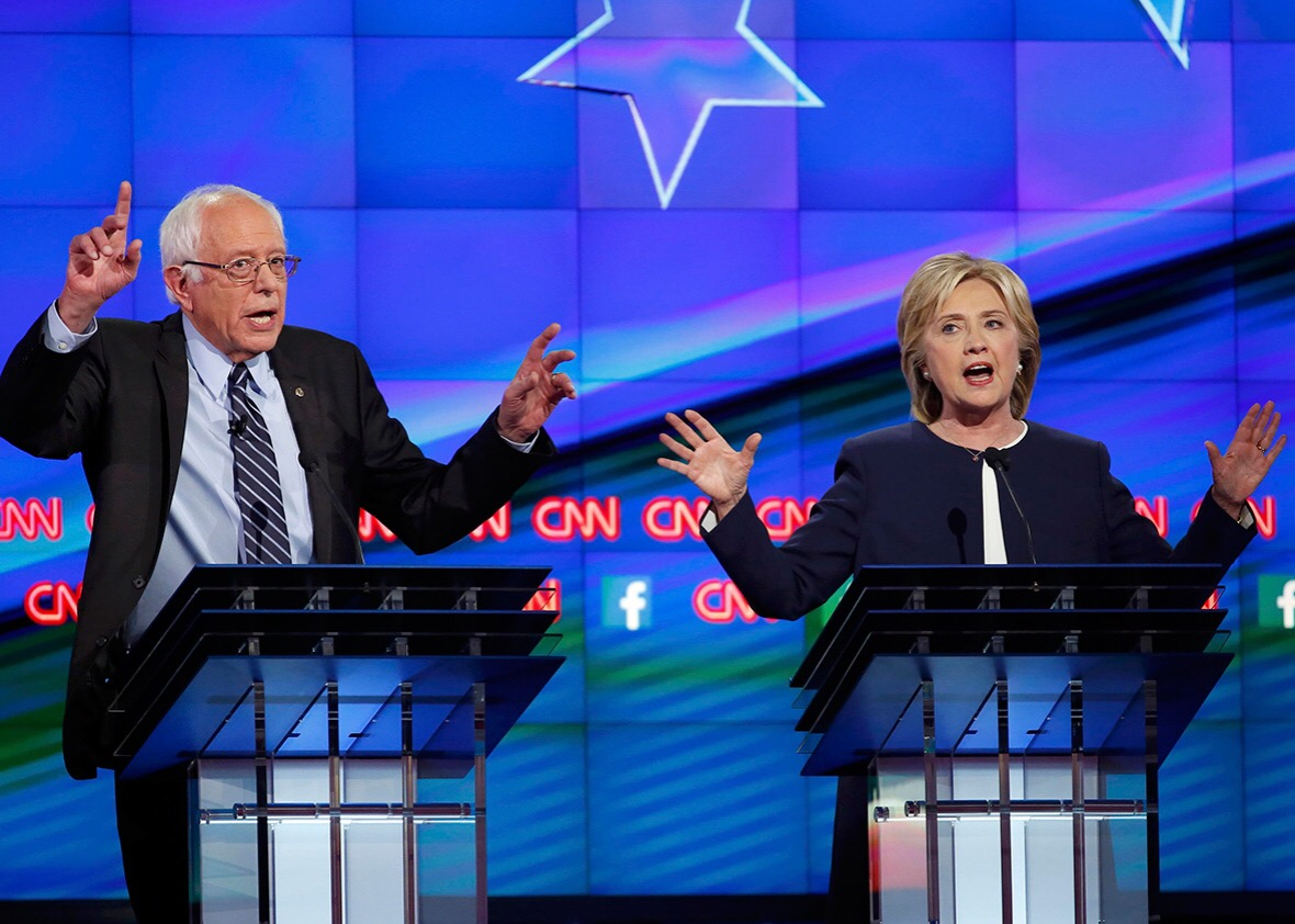Sanders and Clinton play uncle sam says
